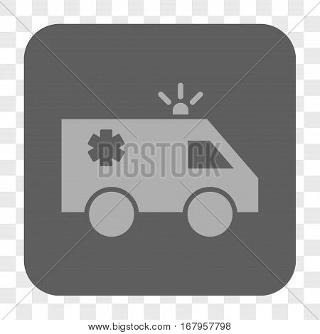 Emergency Car interface toolbar button. Vector icon style is a flat symbol inside a rounded square button, light gray and gray colors, chess transparent background.