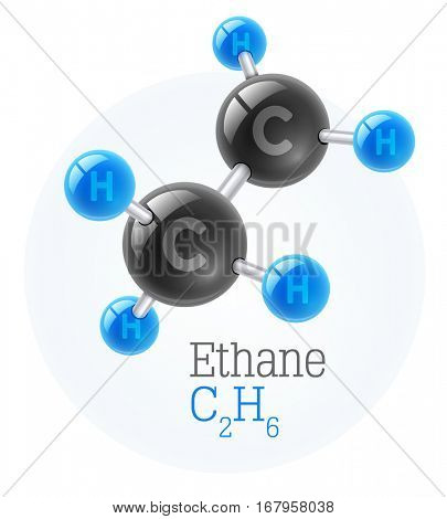 Physical chemical molecule model of gas ethane. Assembly carbon and hydrogen. Combustible gaseous fuel for obtaining energy. Science vector illustration. Isolated on white background