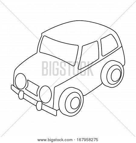 Car icon in outline design isolated on white background. Parking zone symbol stock vector illustration.