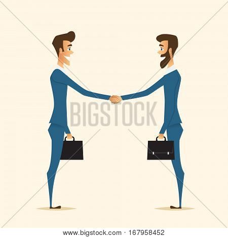 handshake of two partners who made good deal.Business theme.Cartoon vector characters