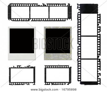 instant photo frames and grunge negative film set