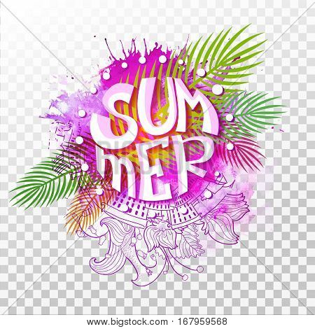 Summer lettering in different colors isolated on transparent background. Abstract typographic summer design for banner, poster, card, flyer. Vector illustration