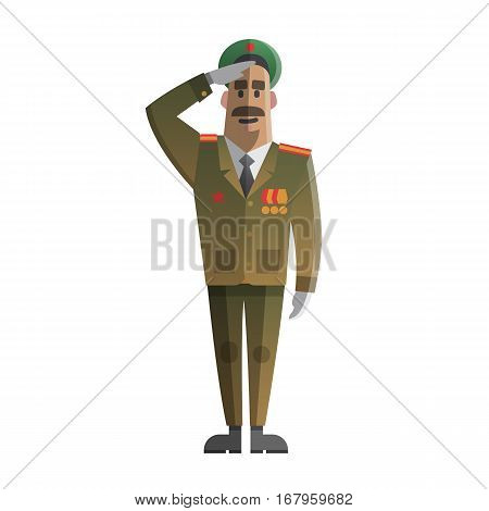 Military men salute. Army forse veteran. Day of defenders of fatherland. Twenty three of february. Russian national holiday. Day of the mens. Vector illustration cartoon style.