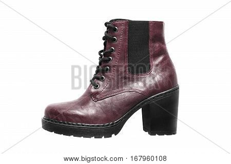 High heel maroon leather boot isolated over white