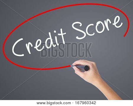 Woman Hand Writing Credit Score Black Marker On Visual Screen