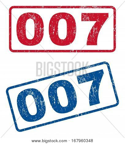 007 text rubber seal stamp watermarks. Vector style is blue and red ink caption inside rounded rectangular banner. Grunge design and scratched texture. Blue and red emblems.