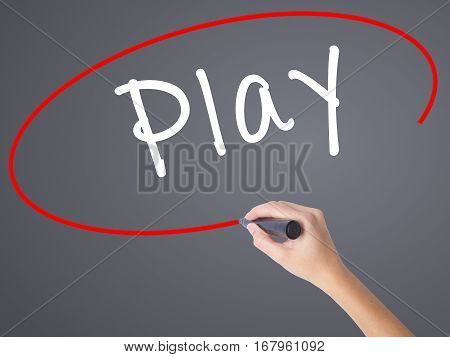 Woman Hand Writing Play With Black Marker On Visual Screen