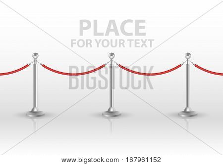 Stand rope barriers isolated on white background. vector illustration