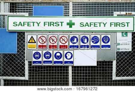 safety first sign and logo blackground photo