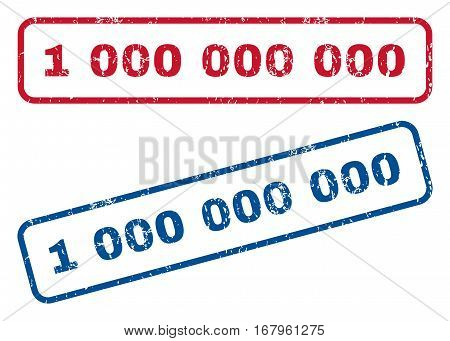 1 000 text rubber seal stamp watermarks. Vector style is blue and red ink caption inside rounded rectangular shape. Grunge design and dirty texture. Blue and red stickers.