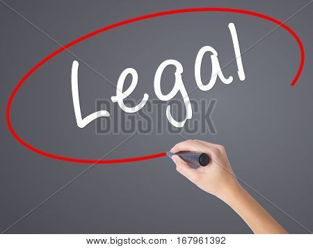 Woman Hand Writing Legal With Black Marker On Visual Screen
