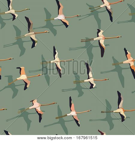 Vector seamless abstract background flock of flamingos with shadow.