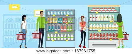 Shopping in supermarket vector. Flat design. Man and woman with baskets in hands choose products from store shelves. Consumers choice and shopping concept. Illustration for sales and discounts ad.