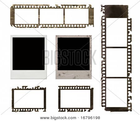 instant photo frames and grunge negative film set, brown hue.