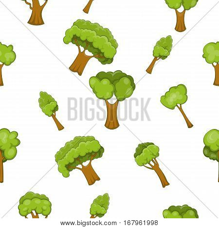 Types of trees pattern. Cartoon illustration of types of trees vector pattern for web