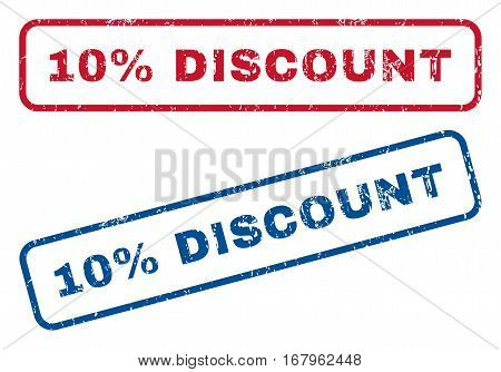 10 Percent Discount text rubber seal stamp watermarks. Vector style is blue and red ink caption inside rounded rectangular banner. Grunge design and dust texture. Blue and red emblems.