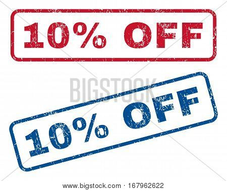 10 Percent Off text rubber seal stamp watermarks. Vector style is blue and red ink caption inside rounded rectangular banner. Grunge design and scratched texture. Blue and red emblems.