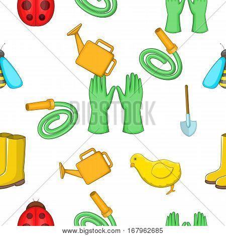 Garden maintenance pattern. Cartoon illustration of garden maintenance vector pattern for web