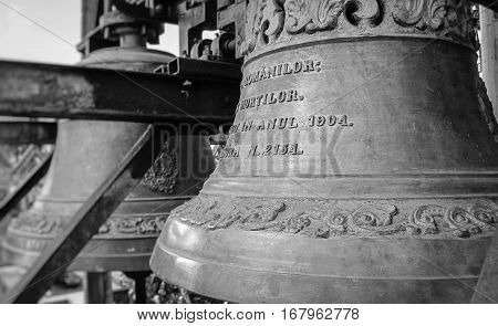 The bells of the famous Merry Cemetery in Maramures county, Romania