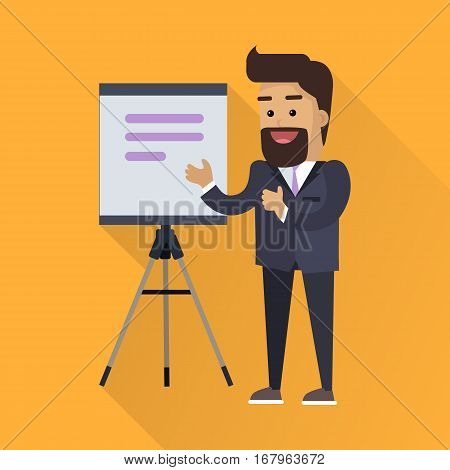 Presentation concept vector in flat style design. Smiling man in business suit taking lecture with flipchart or projector screen on  tripod. Speaker at science, academic, trade, business conference