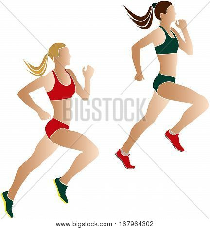 two women athletes runners competition color silhouettes