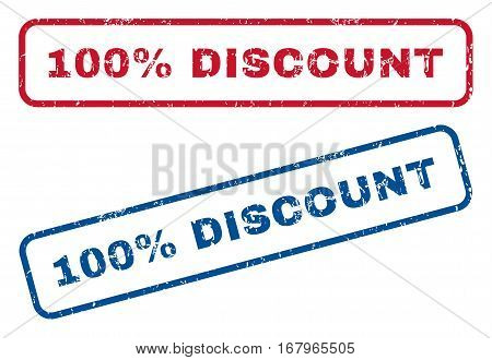 100 Percent Discount text rubber seal stamp watermarks. Vector style is blue and red ink tag inside rounded rectangular shape. Grunge design and dust texture. Blue and red emblems.