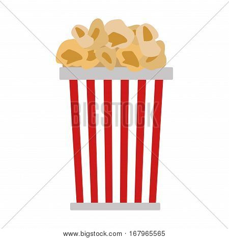 Popcorn in red and white cardboard box is shaking vector illustration.