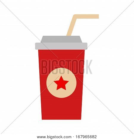 Take out drink cup with straw isolated on white. Fresh beverage plastic container takeaway