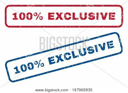 100 Percent Exclusive text rubber seal stamp watermarks. Vector style is blue and red ink tag inside rounded rectangular banner. Grunge design and dust texture. Blue and red signs.