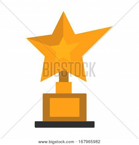 Golden star award on white. Cinema winner gold symbol vector illustration. Hollywood success celebrity best icon festival prize. Academy cinematography statue.
