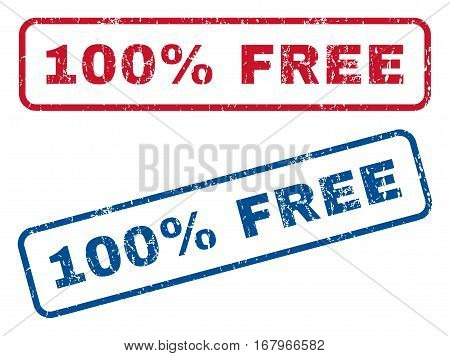 100 Percent Free text rubber seal stamp watermarks. Vector style is blue and red ink caption inside rounded rectangular banner. Grunge design and unclean texture. Blue and red stickers.