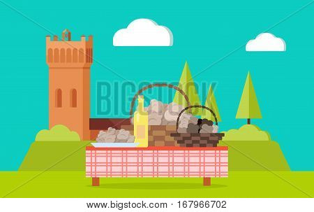 Table with bottle of wine and abstract food in baskets. Picnic table on beautiful landscape with a tower. Hiking at the fresh air. Celebration party at the yard. Sunny day. Summer holiday. Vector