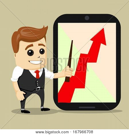 Successful business growth chart. Cartoon Vector Illustration. Manager character with success of growing. businessman with red arrow growing chart