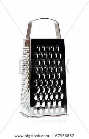 Grater stainless steel closeup isolated on white background.