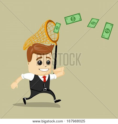 Businessman catching money with a butterfly net. Vector illustration. Dollars and Finance. Happy business man.