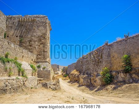Rhodes old town walls on summer sunny day, Greece.