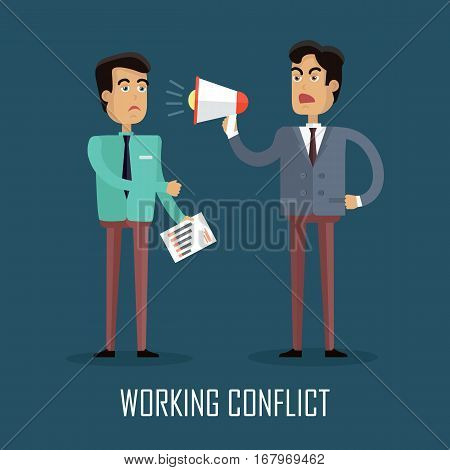 Working Conflict. Businessman screaming into a megaphone. Business man arguing. Angry man in business suit and tie shouting against his employee with the help of a megaphone. Flat vector illustration.