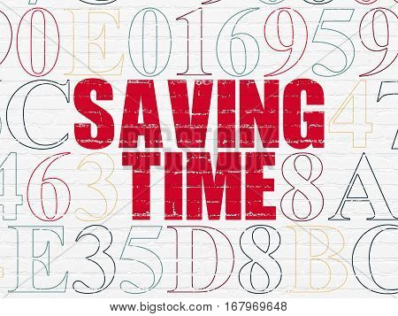 Time concept: Painted red text Saving Time on White Brick wall background with Hexadecimal Code