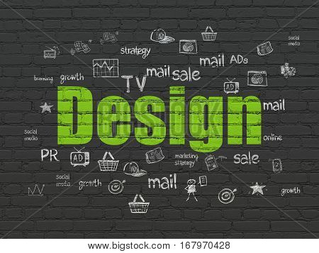 Advertising concept: Painted green text Design on Black Brick wall background with  Hand Drawn Marketing Icons