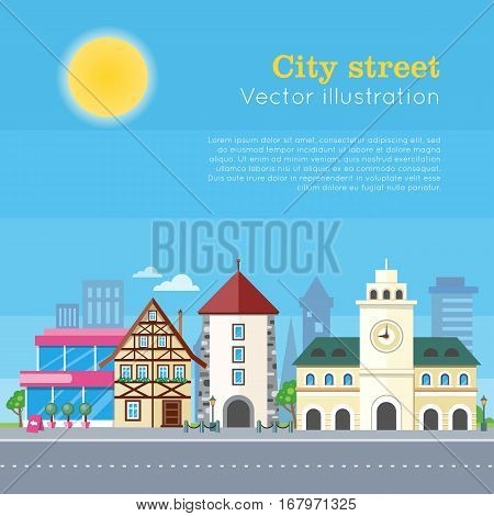 City street vector illustration. Urban city landscape at daytime. Building architecture in unusual fashionable design. Modern town with extraordinary buildings. Metropolis panorama. Flat style design