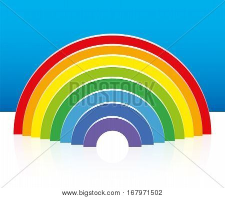Rainbow built with colorful semi circular building bricks - three-dimensional vector illustration.
