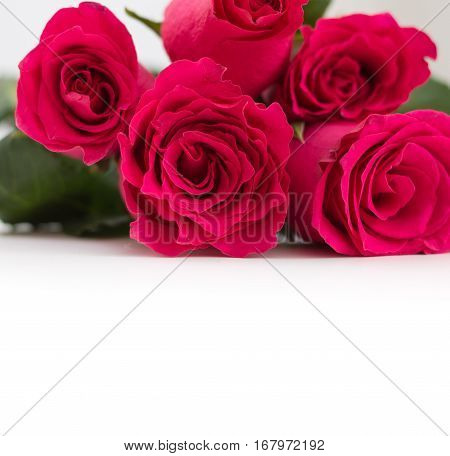 Closeup Of Red Roses Bouquet With Copy-space, On White Background.