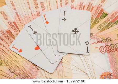 Playing Cards Russian Money In Denominations Of Five Thousand Rubles