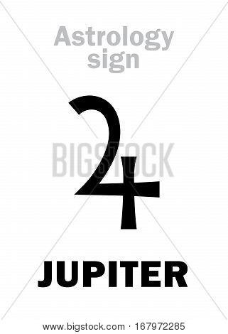 Astrology Alphabet: JUPITER (Jovis Pater), classic major social planet. Hieroglyphics character sign (single symbol).