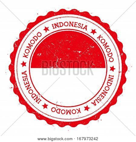 Komodo Flag Badge. Vintage Travel Stamp With Circular Text, Stars And Island Flag Inside It. Vector