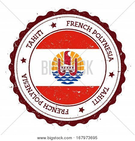 Tahiti Flag Badge. Vintage Travel Stamp With Circular Text, Stars And Island Flag Inside It. Vector
