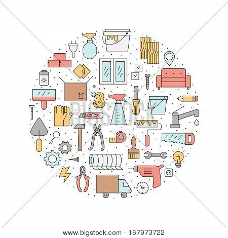 Home repair and construction outline multicolored circle vector illustration. Clean and simple design.