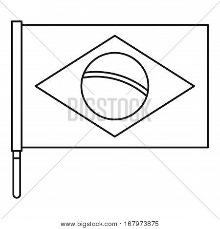 Brazilian flag icon. Outline illustration of Brazilian flag vector icon for web