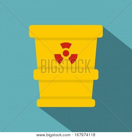 Yellow trashcan containing radioactive waste icon. Flat illustration of yellow trashcan containing radioactive waste vector icon for web on baby blue background