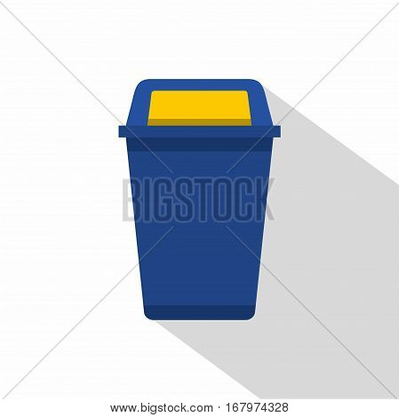 Blue plastic wastebasket icon. Flat illustration of blue plastic wastebasket vector icon for web on white background